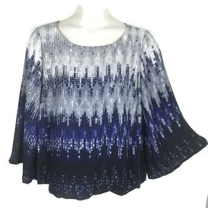 Alfani Blue Geo Print Flare Sleeve Top